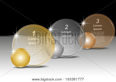 Set of golden silver and bronze balls and round transparent banners for text. Vector illustration EPS10 for infographic template presentations brochures flyer banner website