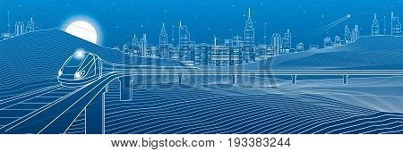 Railroad in the mountains, train move. Rock landscape, night city on background, white lines on blue background, transportation illustration, vector design art
