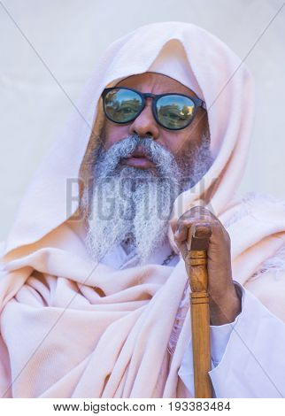 JERUSALEM - APRIL 15 : Ethiopian Orthodox worshiper waiting for the Holy fire ceremony to begin at the Ethiopian section of the Holy Sepulcher in Jerusalm Israel on April 15 2017