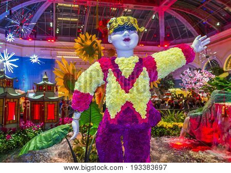 LAS VEGAS - JAN 08 : Chinese New year in Bellagio Hotel Conservatory & Botanical Gardens on January 08 2017 in Las Vegas. There are five seasonal themes that the Conservatory undergoes each year.