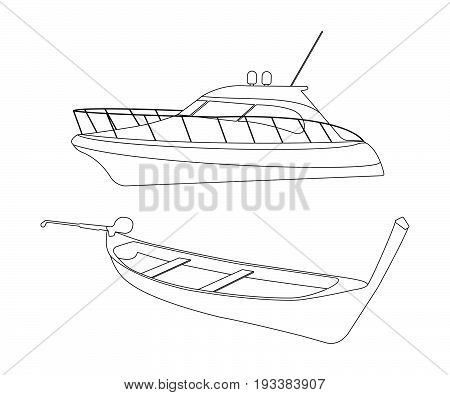 Speedboat and Pirogue flat icon. Outline Vector Illustration.