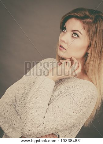 Confused Young Blonde Woman Looking Annoyed