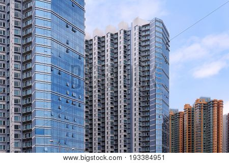 Tall modern architecture skyscrapers in urban city