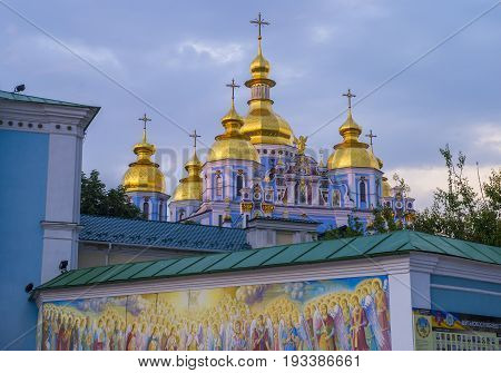 KIEV UKRAINE - JUNE 05 : The St. Michael's Golden-Domed Monastery in Kiev Ukraine on June 05 2017. The original cathedral was demolished by the Soviet authorities in the 1930s