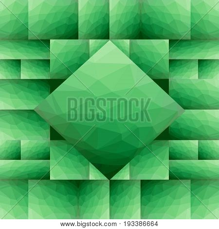 Abstract green tile composed of square and rectangle shapes with polygonal texture. Modern vector abstract background with spatial effect