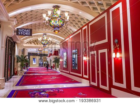 LAS VEGAS - JAN 08 : The interior of Encore Hotel and casino in Las Vegas on January 08 2017. The hotel has 2716 rooms and opened in 2005.