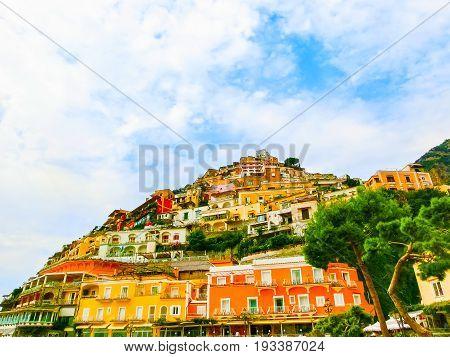 Positano at Italy along the stunning Amalfi Coast.