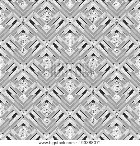 Seamless design. Retro pattern. Memphis background. Avant-garde backdrop. Vintage graphic. Bauhaus print. Black and white wallpaper. Hipster illustration. Monochrome ornament. Geometry art. Vector.
