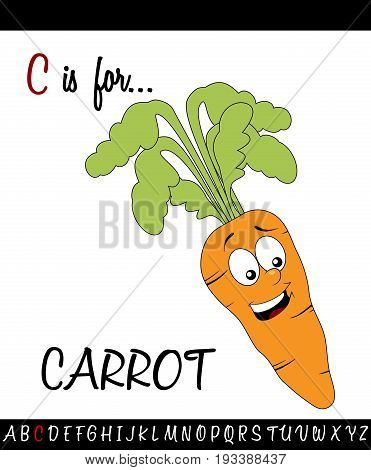 Illustrated vocabulary worksheet card with cartoon carrot for Children Education