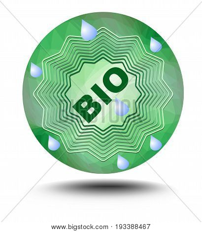 Bio label in green - star on green triangle background with drops on clear water in middle inscription bio. Useful as sticker for natural bio products drink or food