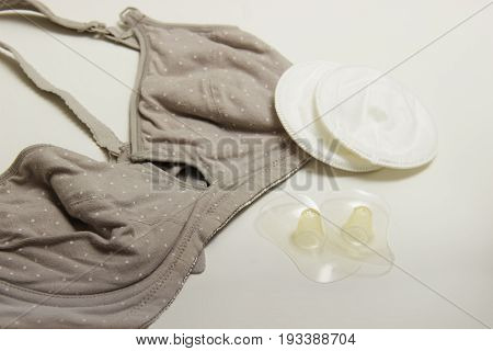 Nursing Bra For Mothers And Silicon Nipples. Moms Bra With New Disposable Breast Pad. Prevents The F