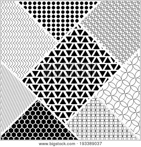 Monochromatic tile whit patterns in patch work style. White and black design vector ornament