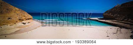 Landscape with sand Ageeba beach near Mersa Matruh, Egypt