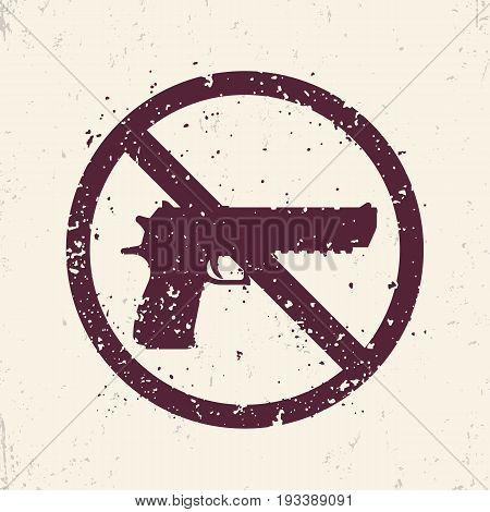 no guns sign with powerful pistol, handgun silhouette, no firearms print