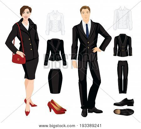 Vector illustration of corporate dress code. Secretary or professor in official black formal suit.
