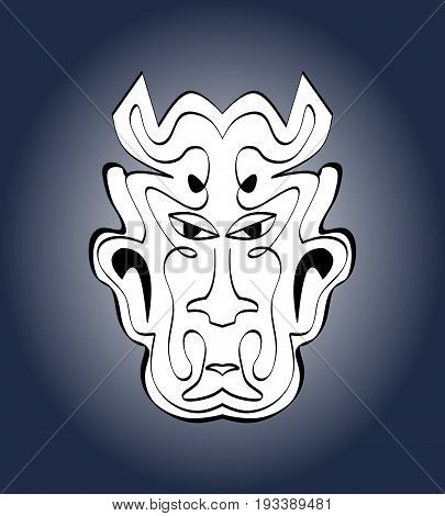 Devil face carnival mask. Monochromatic calligraphic symmetric drawing on dark blue gradient background. Vector illustration
