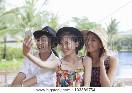 three style of asina younger woman selfie photography my smart phone happiness emotion