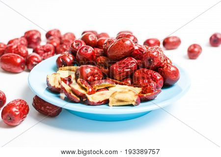 Jujube, Chinese Dried Red Date Fruit On A Plate