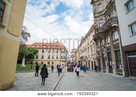 Bratislava, Slovakia - 17 April 2017 : People Walking Around The Main Square In The Old Town Of Brat