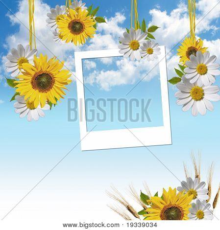 Empty Photo Frames Over Sky Background