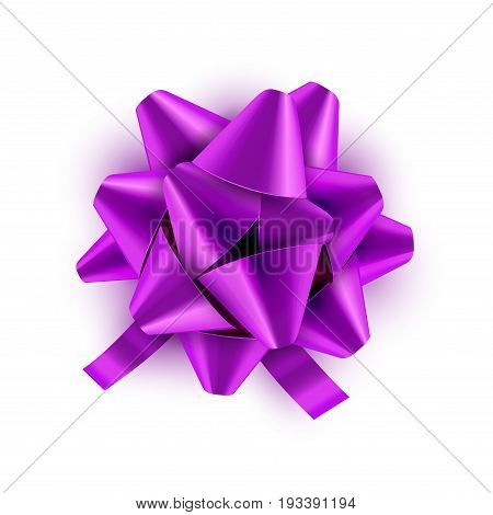 Lilac Bow ribbon isolated. Vector illustration for celebration birthday card. Festive green bow decoration for holiday gift.