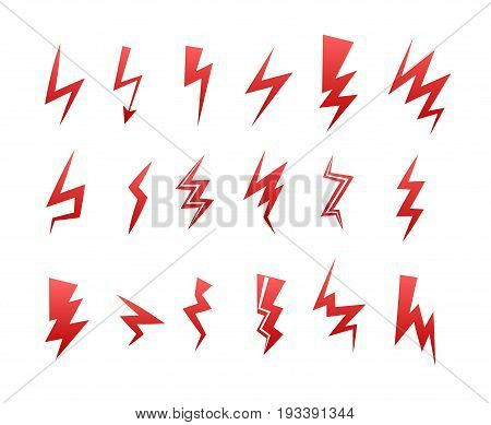 Lightning icon set. Thunder bolt storm vector symbol. Flwsh electric energy sign. Arrow abstract element.