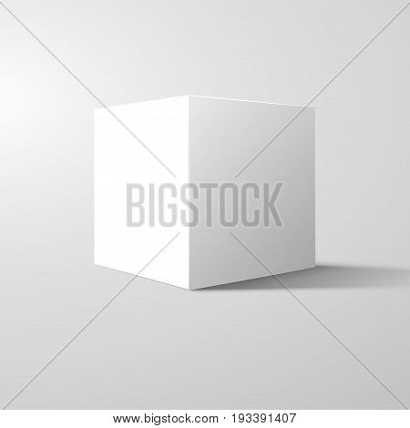 White box cube isolated on white background. Blank empty package 3d design. Gray shadow. Cube or square product design object.