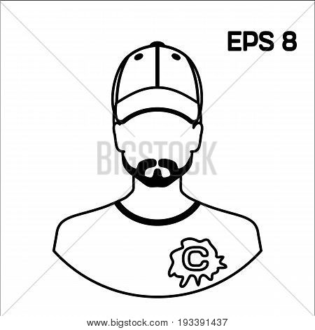 Infection with hepatitis viruses. Avatar men in a cap and t-shirt, propaganda anti-hepatitis C. the Drawn contour. Stock vector.