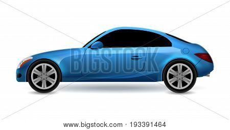 Vector blue automobile coupe isolated profile side view. Luxury modern sedan transport auto car. Side view car design illustration.