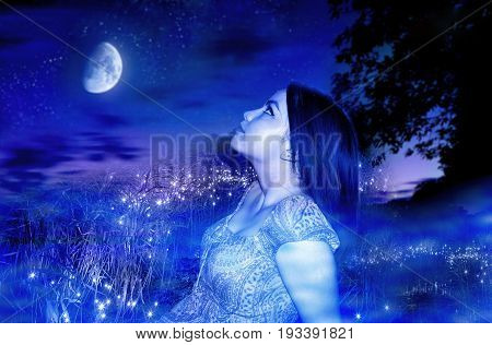 photography with element of the manipulates with scene of the fairy-tale girl on background night sky with firefly