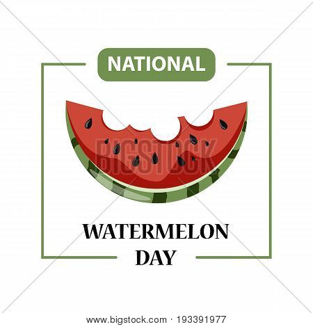 Day poster watermelon, a national holiday in the US on August 3, juicy piece of delicious watermelon. Stock vector
