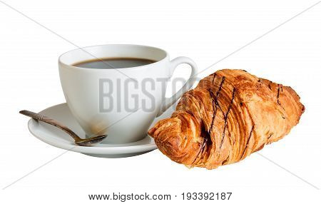 Coffee and croissant isolated on white background. Selective focus