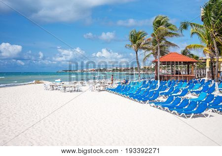 Playa Del Carmen Mexico - April 16 2016: Tourist facilities on the beach