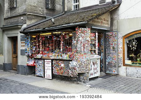 Bern Switzerland - April 17 2017: The kiosk with many small souvenirs also offers drinks daily newspapers and other items needed by tourists arriving here.
