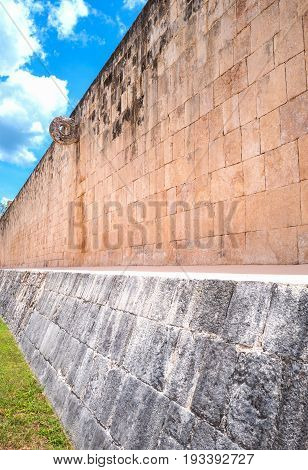 Chichen Itza Mexico archaeological site the ancient Ball Game wall (Juego de Pelota)