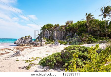 Tulum Mexico sea view from the Mayan city archaeological site with the Wind Temple in the background
