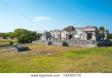 Tulum Mexico houses in the Mayan city archaeological site