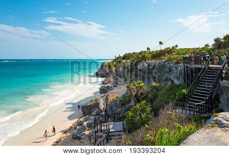 Tulum Mexico - April 20 2016: Sea view from the Mayan city archaeological site with many tourists