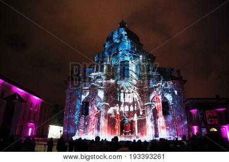 GHENT, BELGIUM - JANUARY 31, 2015. The Light festival in the city center of Ghent. The light festival is a famous, semi annually organized festival in the inner city of Ghent.