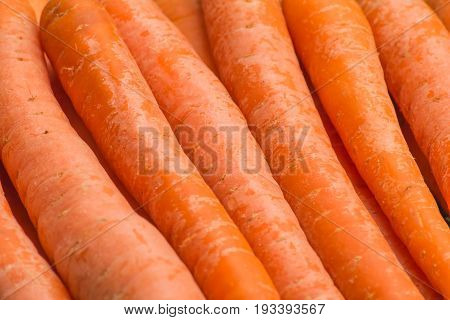 Fresh, raw, organic, bio, orange carrots. Healthy vegan vegetarian vegetable food