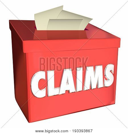 Claims Insurance Cases Collection Box Proof 3d Illustration