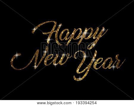 The golden glitter of isolated hand writing word HAPPY NEW YEAR on black blackground