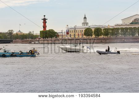 St. Petersburg Russia - 28 May, High-speed boat at the point of Vasilievsky Island, 28 May, 2017. Famous sightseeing places of St. Petersburg for tourists.