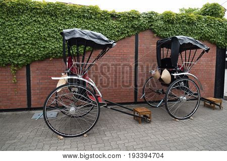 Traditional japanese pull rickshaws for sightseeing in the city