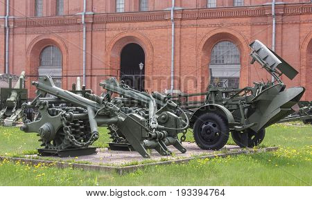 St. Petersburg Russia - 28 May, Modifications of heavy mine trawls, 28 May, 2017. Military History Museum of combat equipment in St. Petersburg.
