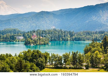 Lake Bled with St. Marys Church on small island in Bled, Slovenia