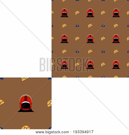 Seamless pattern of Rescue and fire with yellow plastic helmets red firefighter helmets and police hats on the brown background with pattern unit.