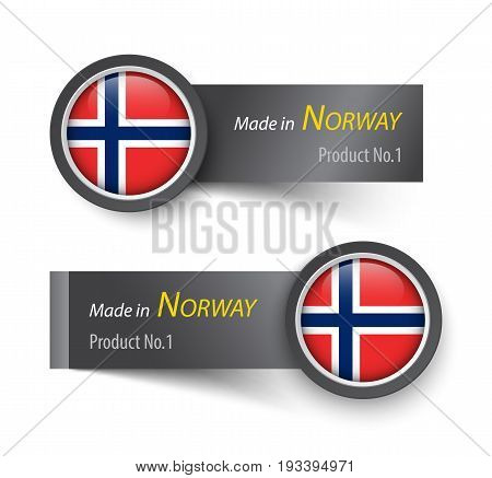 Flag icon and label with text made in Norway .