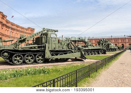 St. Petersburg Russia - 28 May, Heavy military engineering equipment, 28 May, 2017. Military History Museum of combat equipment in St. Petersburg.