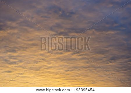 Colorful Sunrise Cloudscape Background With Vibrant Yellows, Oranges And Blues, Birds Flying High In